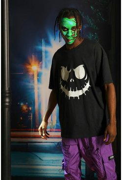 Halloween Glow In The Dark Face T-Shirt, Black, Uomo