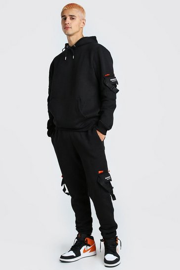 Mens Black MAN Official Utility Hooded Tracksuit With Buckles