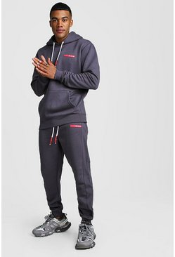 MAN Badge Hooded Tracksuit With Ribbed Detail, Charcoal, Uomo