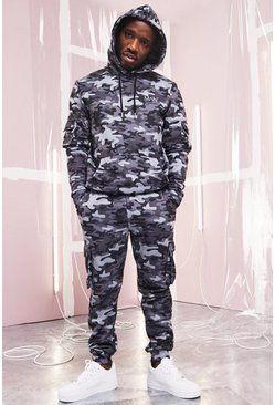 Mens Dark grey MAN Utility Camo Hooded Tracksuit