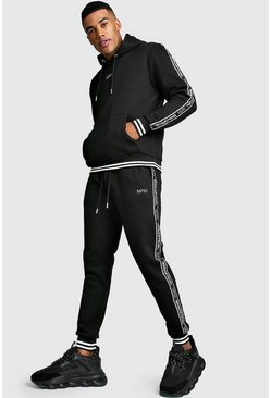 MAN Tape Tracksuit With Contrast Rib, Black, Uomo