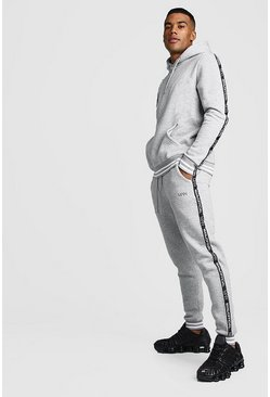 MAN Tape Tracksuit With Contrast Rib, Grey marl, HERREN