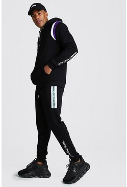Mens Black Official MAN Contrast Panel Hooded Tape Tracksuit