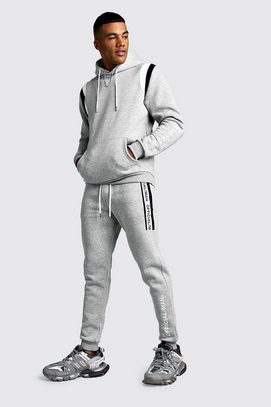 Grey Official MAN Contrast Panel Hooded Tape Tracksuit