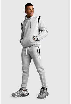 Official MAN Contrast Panel Hooded Tape Tracksuit, Grey, Uomo