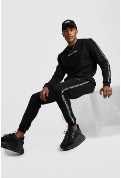 Official MAN Tape Sweater Tracksuit, Black, Uomo