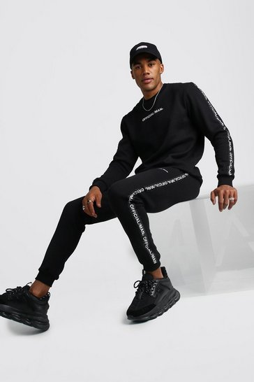 Mens Black Official MAN Tape Sweater Tracksuit