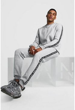 Mens Grey Official MAN Tape Sweater Tracksuit