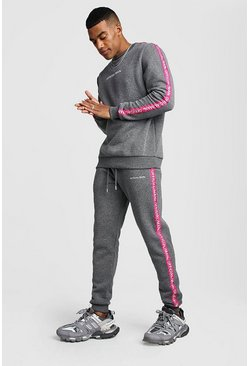 Mens Charcoal Official MAN Tape Sweater Tracksuit