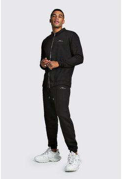 Black MAN Signature Harrington Tracksuit