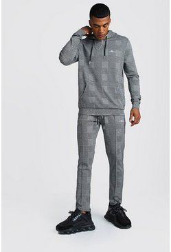 MAN Signature Jacquard Check Hooded Tracksuit, Grey, Uomo