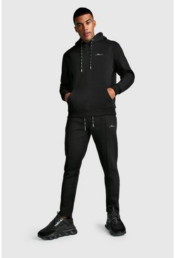 MAN Signature Hoodie & Pintuck Jogger Set, Black