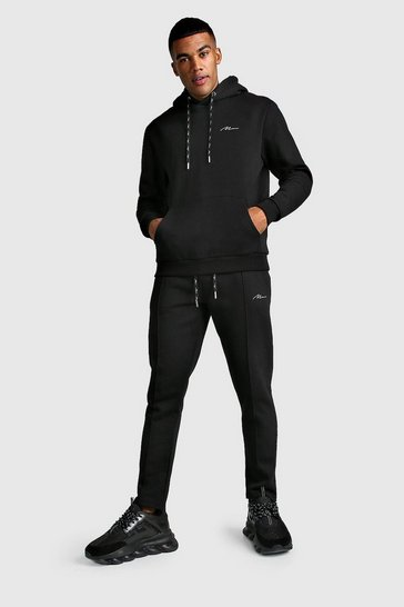 Black MAN Signature Hoodie & Pintuck Jogger Set