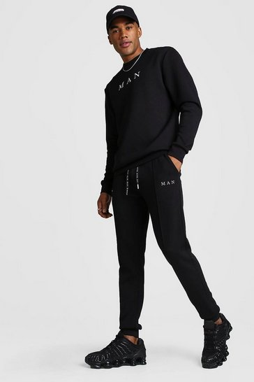 Black MAN Smart Scuba Sweater & Pintuck Jogger Set