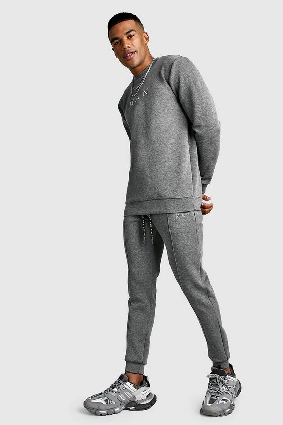 Charcoal MAN Smart Scuba Sweater & Pintuck Jogger Set