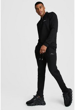 MAN Signature Scuba Half Zip Harrington Tracksuit, Black, Uomo