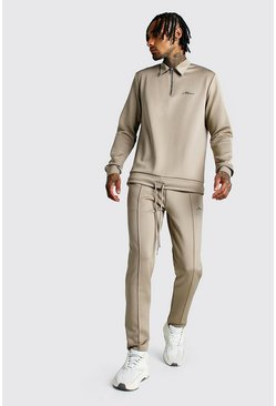 MAN Signature Scuba Half Zip Harrington Tracksuit, Taupe, Uomo