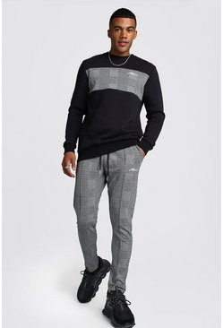 Mens Black MAN Signature Jacquard Panel Sweater Tracksuit
