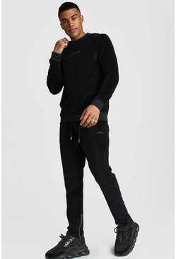 MAN Signature Velour Sweater Tracksuit, Black, Uomo