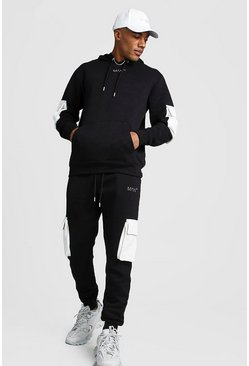 Original MAN Contrast Utility Hooded Tracksuit, Black, HERREN