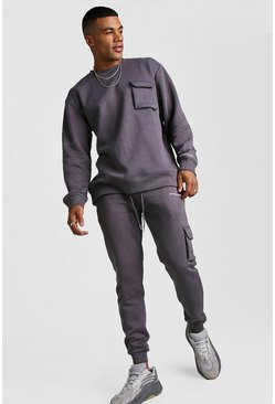Official MAN Loose Fit Utility Sweater Tracksuit, Charcoal, Uomo