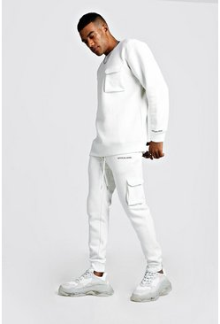 Official MAN Loose Fit Utility Sweater Tracksuit, Ecru, Uomo