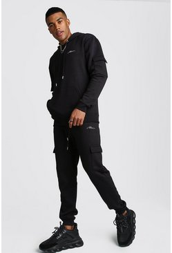 Mens Black MAN Signature Cargo Hooded Tracksuit
