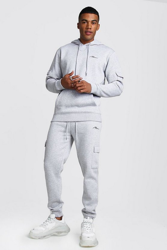 Grey MAN Signature Cargo Hooded Tracksuit