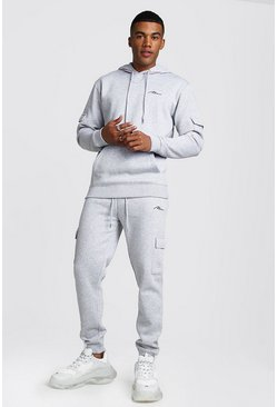 Mens Grey MAN Signature Cargo Hooded Tracksuit