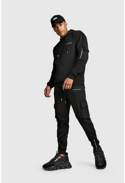 MAN MA1 Utility Hooded Tracksuit With Zip Detail, Black, Uomo