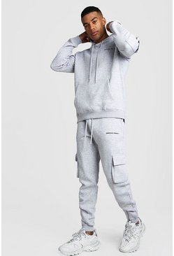 MAN MA1 Utility Hooded Tracksuit With Zip Detail, Grey, HOMMES