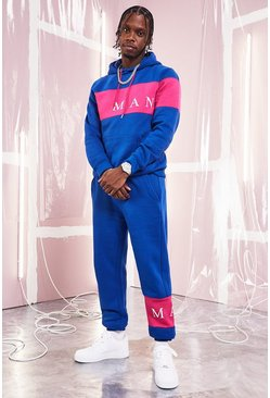Mens Blue MAN Sport Contrast Panel Hooded Tracksuit