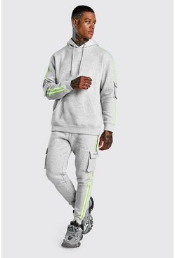 Reflective MAN Official Tracksuit With Stripes, Grey