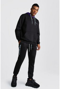 Official MAN Hooded Tracksuit With Contrast Hood, Black, Uomo