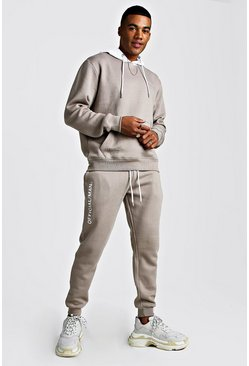 Mens Taupe Official MAN Hooded Tracksuit With Contrast Hood