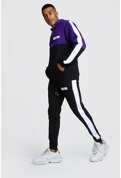 Colour Block Hooded Tracksuit With Rubbed Badge, Black, HOMMES
