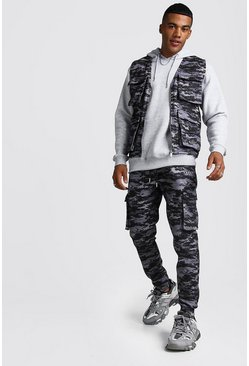 Mens Black Camo Utility Vest & Jogger Set With 3D Pockets