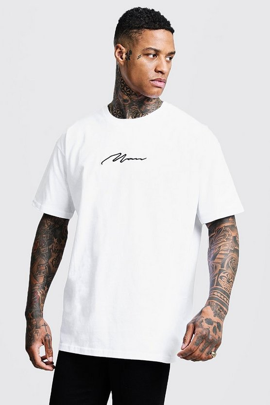 Mens White Oversized MAN Signature T-Shirt