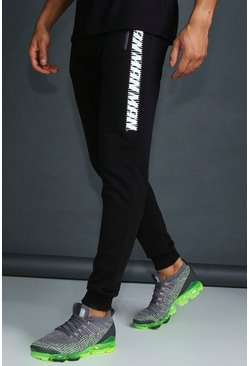 Herr Black MAN Active Skinny Fit Joggers With Placement Print