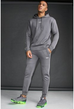 MAN Active Skinny Fit Reflective Piping Tracksuit, Charcoal