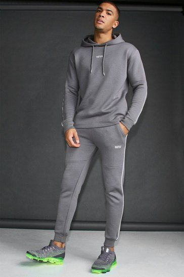 Charcoal MAN Active Skinny Fit Reflective Piping Tracksuit