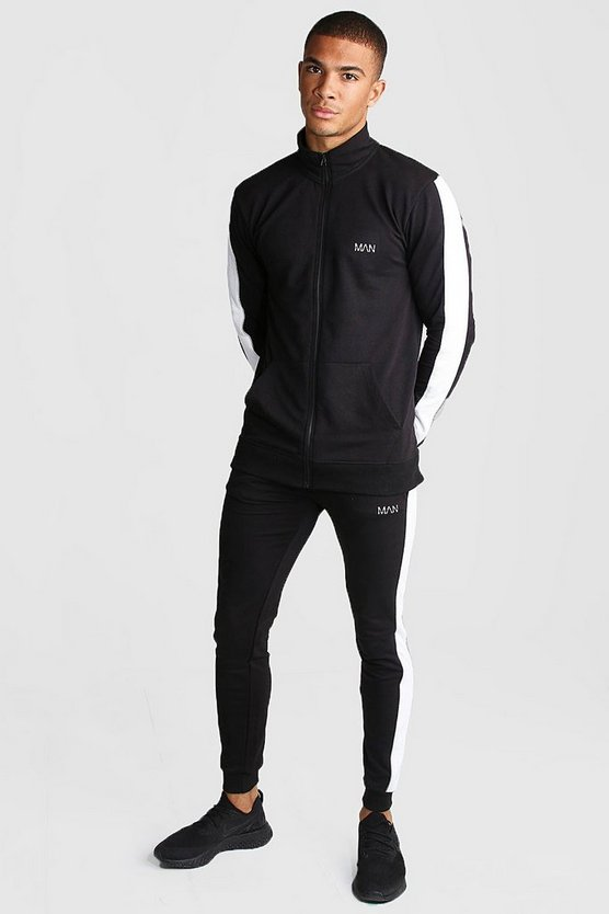 Mens Black MAN Active Skinny Fit Reflective Detail Tracksuit