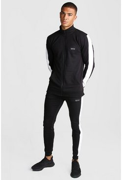 Black MAN Active Skinny Fit Reflective Detail Tracksuit
