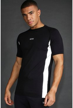MAN Active Muscle Fit Reflective Panel T-Shirt, Black, HOMMES