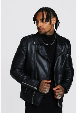 Real Leather Biker Jacket With Zip Detail, Black