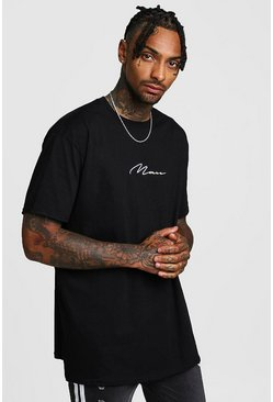 Oversized MAN Signature T-Shirt, Black, HOMBRE