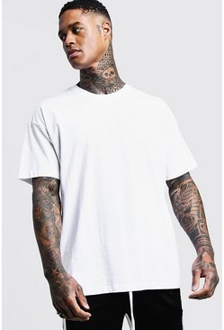 Oversized Crew Neck T-Shirt, White, МУЖСКОЕ