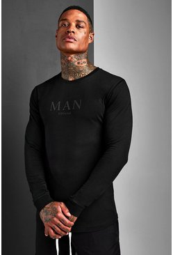 Muscle Fit MAN Roman Long Sleeve T-Shirt, Black, HOMBRE