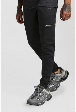 Black MAN Signature Scuba Cargo Jogger With Zip Pocket