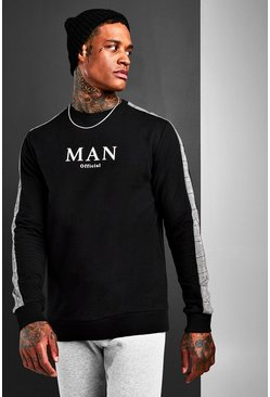 Herr Black Jacquard Sleeve Panel MAN Sweatshirt